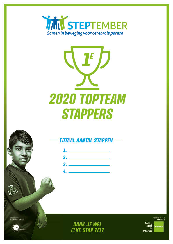 Steptember Certificaat Team Top Stappers Nr 1