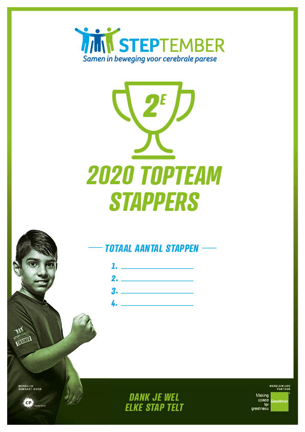Steptember Certificaat Team Top Stappers Nr 2